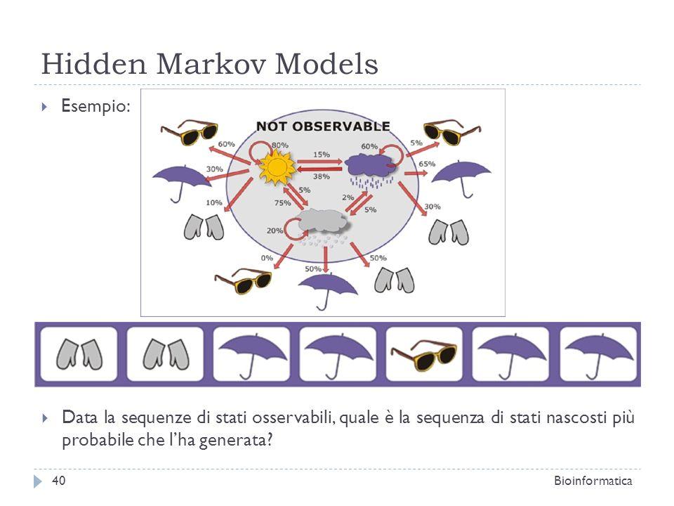 Hidden Markov Models Bioinformatica40 Esempio: Data la sequenze di stati osservabili, quale è la sequenza di stati nascosti più probabile che lha gene