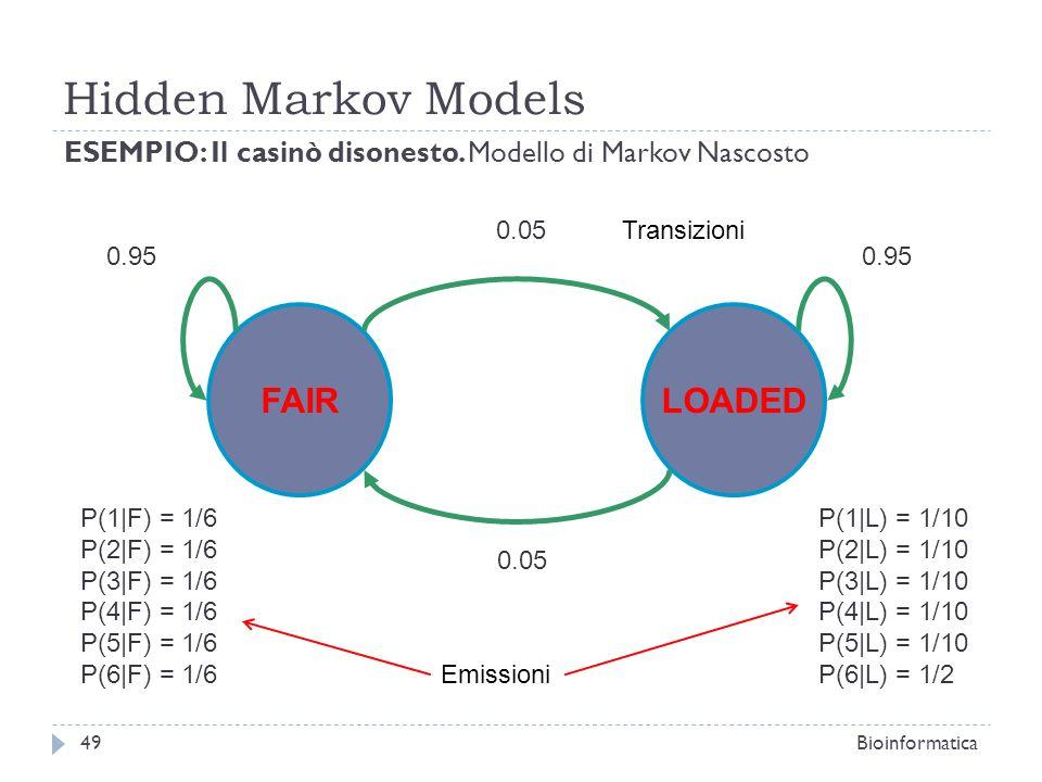 Hidden Markov Models Bioinformatica49 ESEMPIO: Il casinò disonesto. Modello di Markov Nascosto FAIRLOADED 0.05 0.95 P(1|F) = 1/6 P(2|F) = 1/6 P(3|F) =