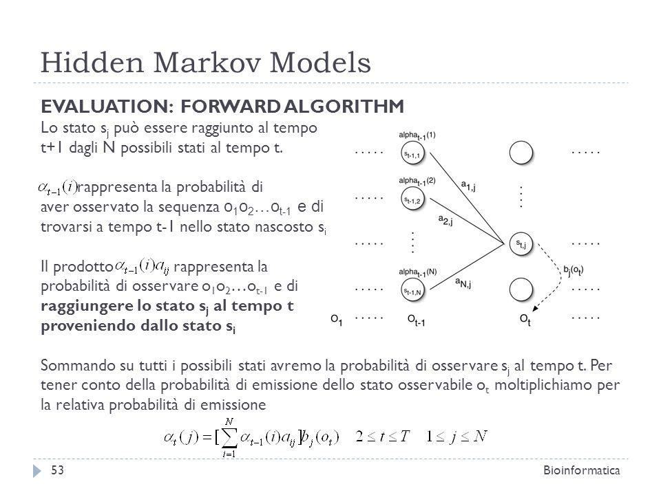 Hidden Markov Models Bioinformatica53 EVALUATION: FORWARD ALGORITHM Lo stato s j può essere raggiunto al tempo t+1 dagli N possibili stati al tempo t.