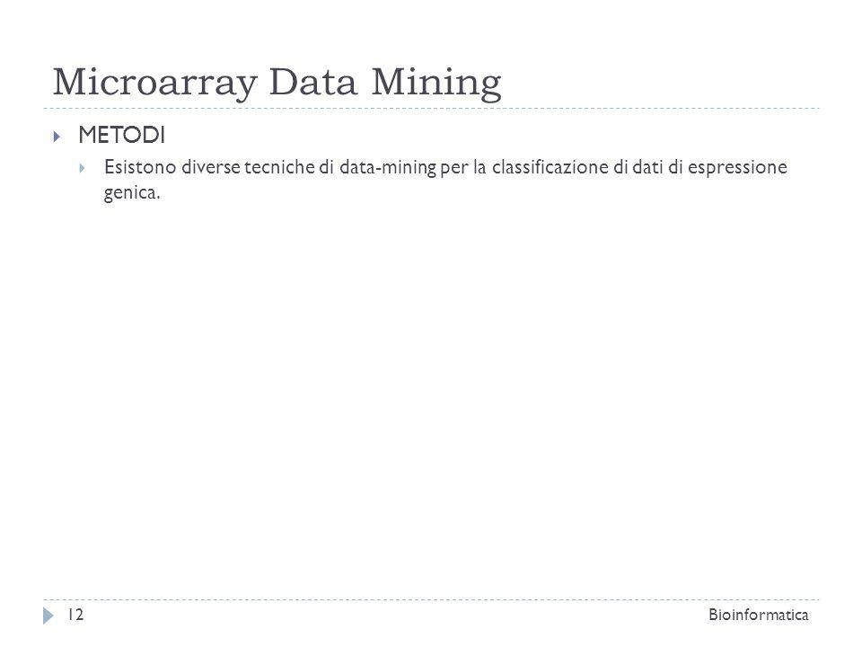 Microarray Data Mining METODI Esistono diverse tecniche di data-mining per la classificazione di dati di espressione genica. Bioinformatica12