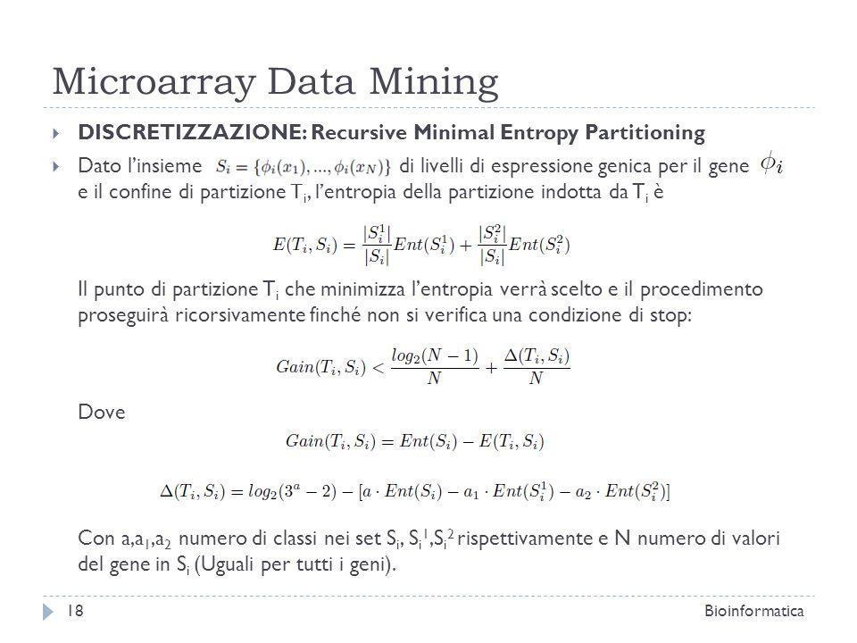 Microarray Data Mining DISCRETIZZAZIONE: Recursive Minimal Entropy Partitioning Dato linsieme di livelli di espressione genica per il gene e il confin