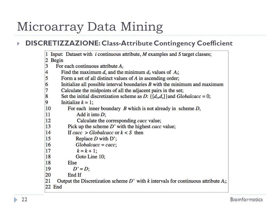 Microarray Data Mining DISCRETIZZAZIONE: Class-Attribute Contingency Coefficient Bioinformatica22