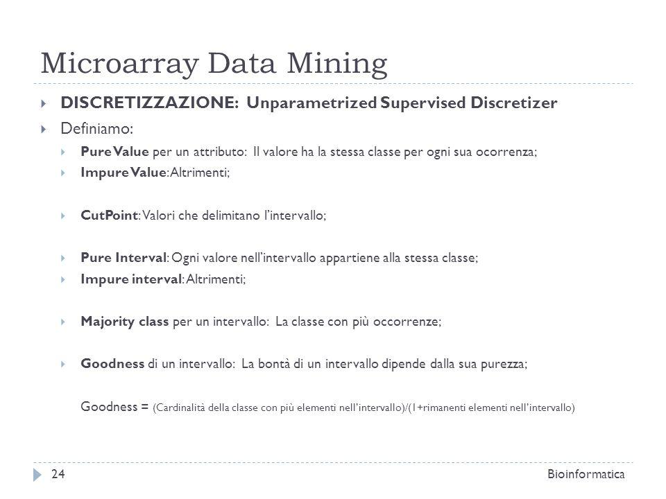 Microarray Data Mining DISCRETIZZAZIONE: Unparametrized Supervised Discretizer Definiamo: Pure Value per un attributo: Il valore ha la stessa classe p