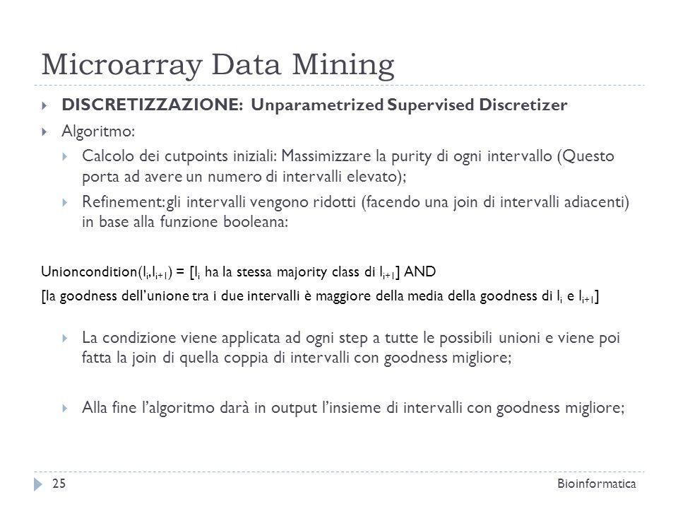 Microarray Data Mining DISCRETIZZAZIONE: Unparametrized Supervised Discretizer Algoritmo: Calcolo dei cutpoints iniziali: Massimizzare la purity di og
