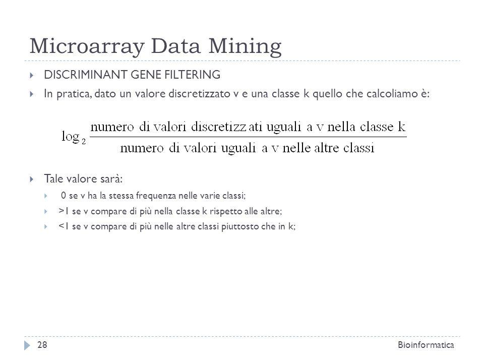 Microarray Data Mining DISCRIMINANT GENE FILTERING In pratica, dato un valore discretizzato v e una classe k quello che calcoliamo è: Tale valore sarà