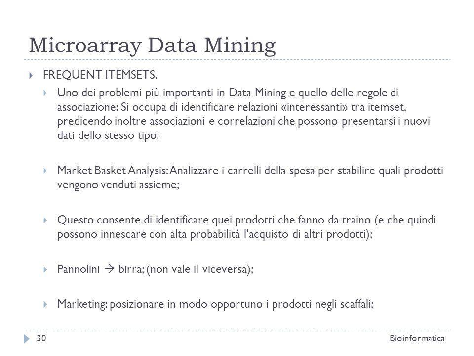 Microarray Data Mining FREQUENT ITEMSETS. Uno dei problemi più importanti in Data Mining e quello delle regole di associazione: Si occupa di identific
