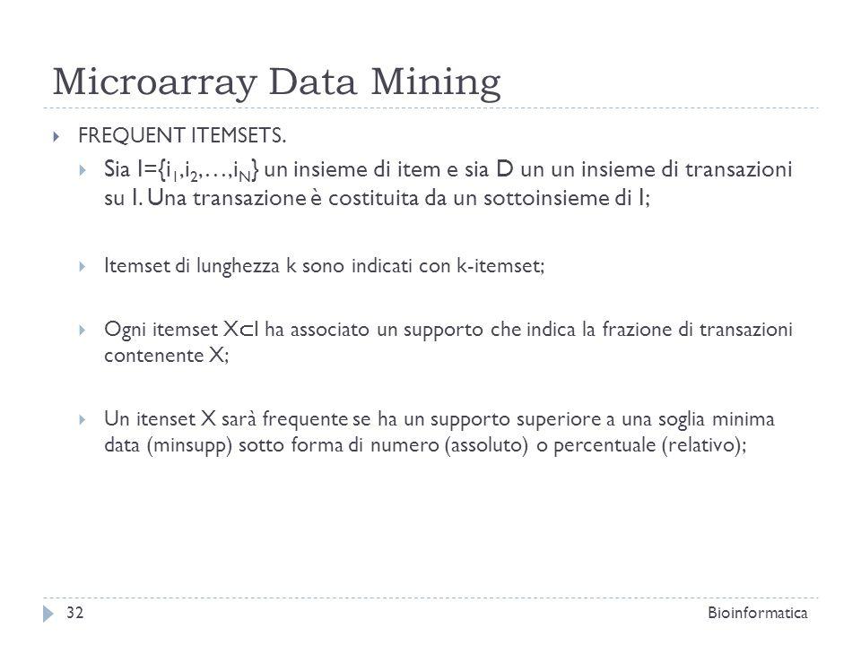 Microarray Data Mining FREQUENT ITEMSETS. Sia I={i 1,i 2,…,i N } un insieme di item e sia D un un insieme di transazioni su I. Una transazione è costi