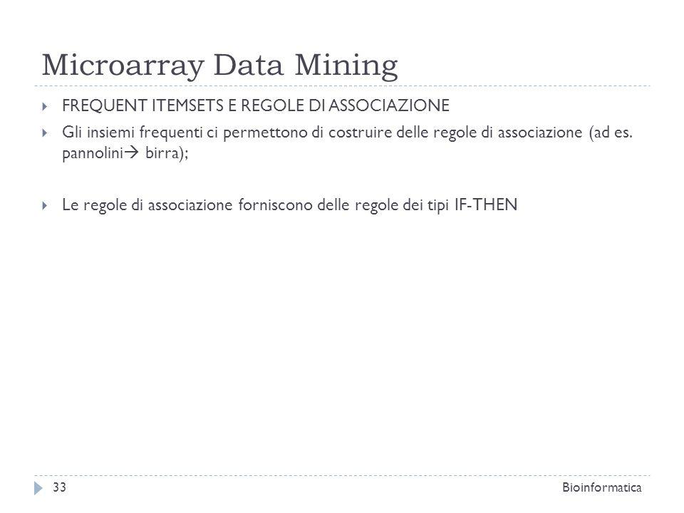 Microarray Data Mining FREQUENT ITEMSETS E REGOLE DI ASSOCIAZIONE Gli insiemi frequenti ci permettono di costruire delle regole di associazione (ad es
