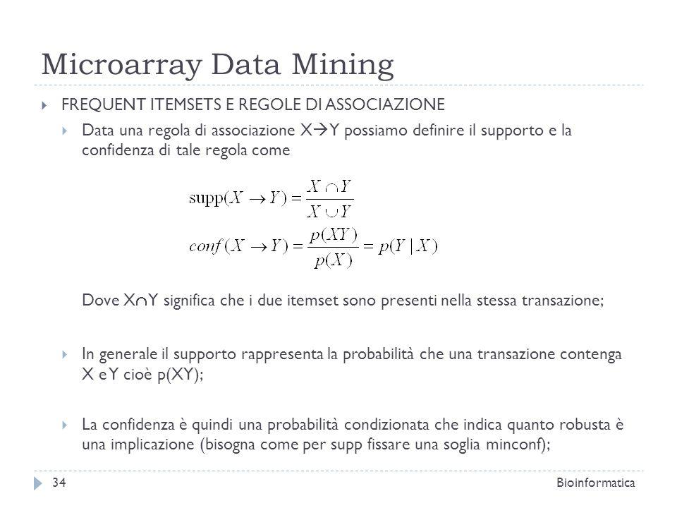 Microarray Data Mining FREQUENT ITEMSETS E REGOLE DI ASSOCIAZIONE Data una regola di associazione X Y possiamo definire il supporto e la confidenza di