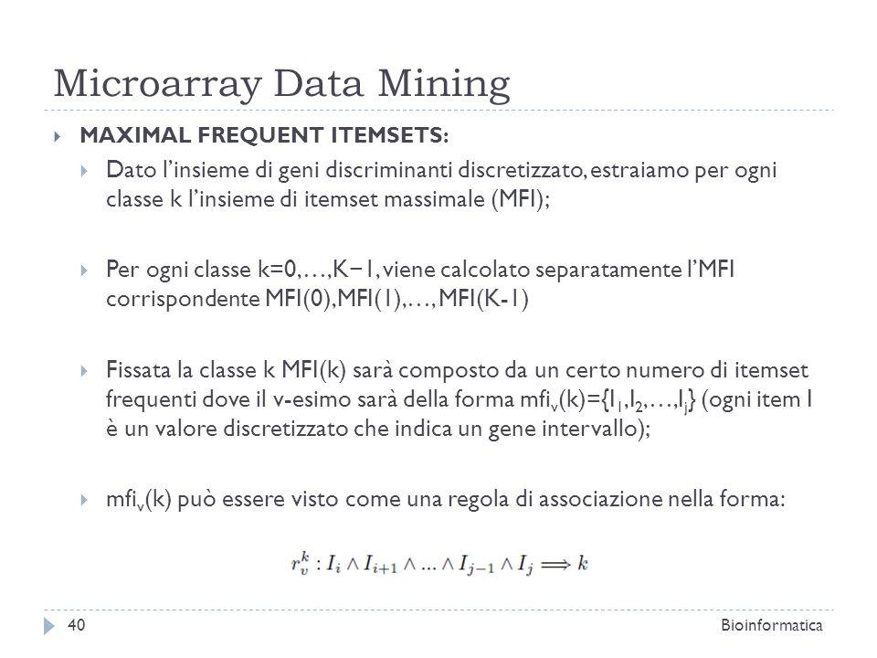 Microarray Data Mining MAXIMAL FREQUENT ITEMSETS: Dato linsieme di geni discriminanti discretizzato, estraiamo per ogni classe k linsieme di itemset m