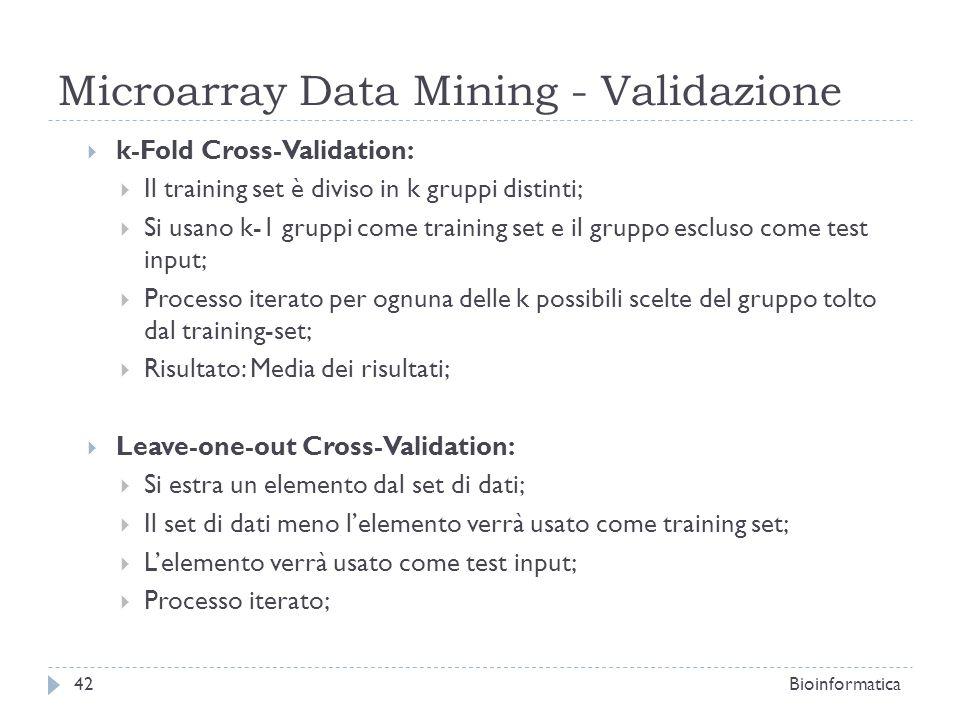 Microarray Data Mining - Validazione k-Fold Cross-Validation: Il training set è diviso in k gruppi distinti; Si usano k-1 gruppi come training set e i