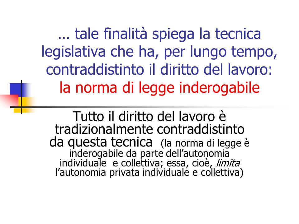 … tale finalità spiega la tecnica legislativa che ha, per lungo tempo, contraddistinto il diritto del lavoro: la norma di legge inderogabile Tutto il