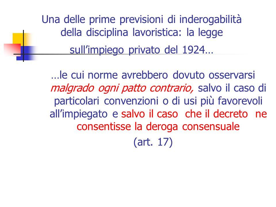 Una delle prime previsioni di inderogabilità della disciplina lavoristica: la legge sullimpiego privato del 1924… …le cui norme avrebbero dovuto osser