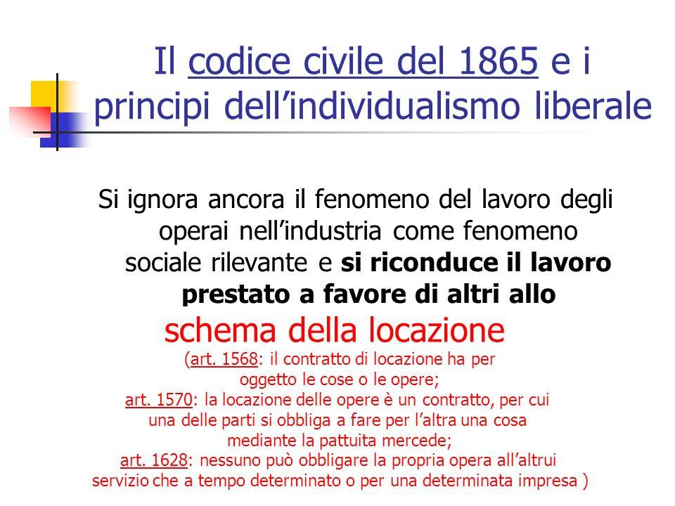 Il codice civile del 1865 e i principi dellindividualismo liberale Si ignora ancora il fenomeno del lavoro degli operai nellindustria come fenomeno so