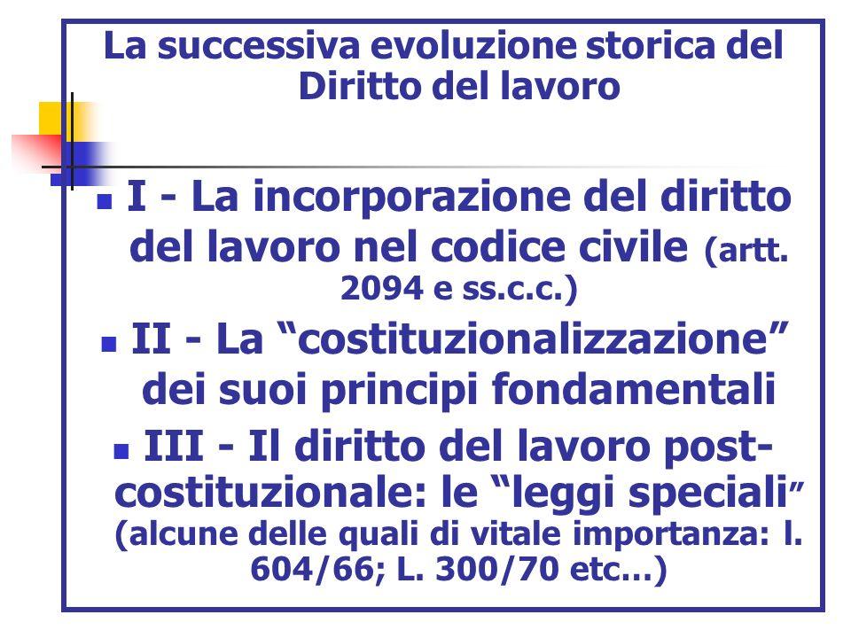 La successiva evoluzione storica del Diritto del lavoro I - La incorporazione del diritto del lavoro nel codice civile (artt. 2094 e ss.c.c.) II - La