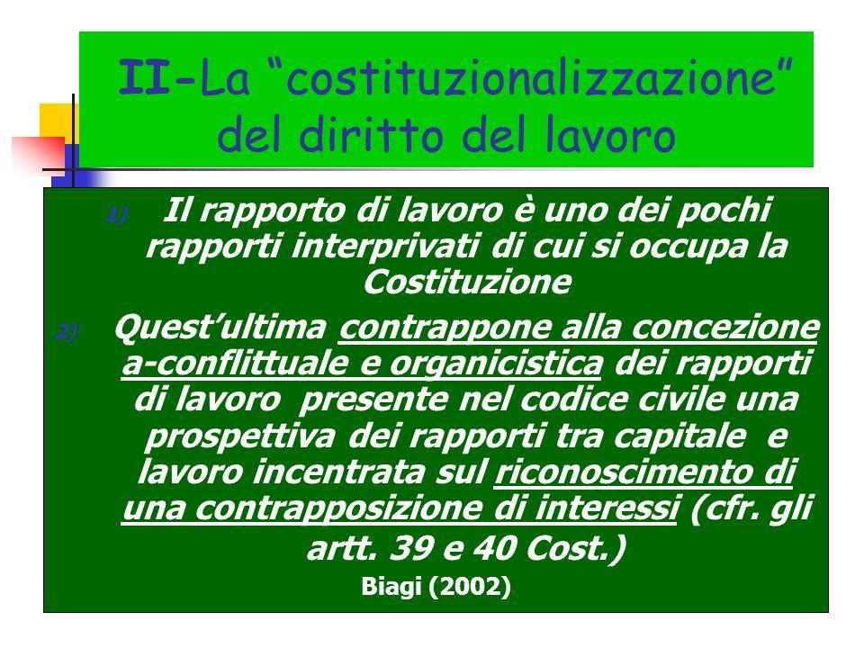 II-La costituzionalizzazione del diritto del lavoro 1) Il rapporto di lavoro è uno dei pochi rapporti interprivati di cui si occupa la Costituzione 2)