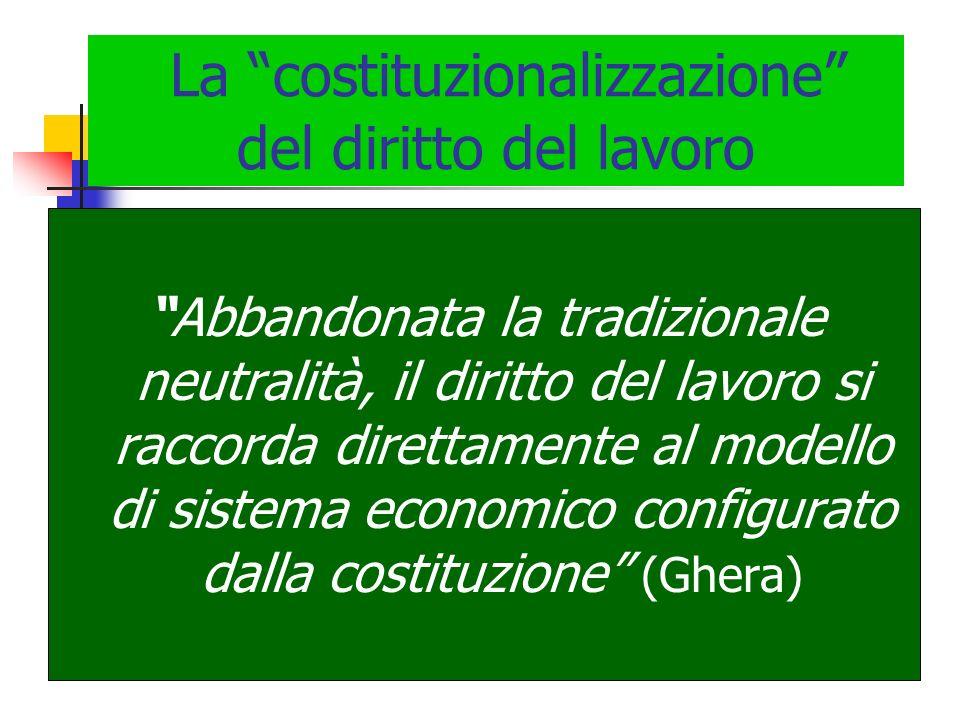 La costituzionalizzazione del diritto del lavoro Abbandonata la tradizionale neutralità, il diritto del lavoro si raccorda direttamente al modello di