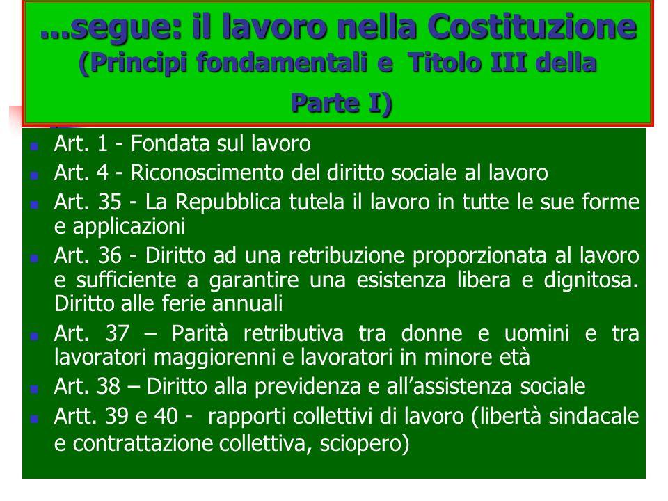 ...segue: il lavoro nella Costituzione (Principi fondamentali e Titolo III della Parte I) Art. 1 - Fondata sul lavoro Art. 4 - Riconoscimento del diri