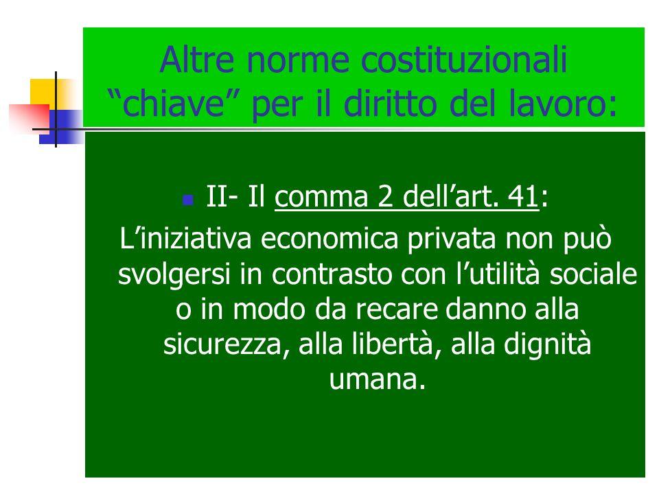Altre norme costituzionali chiave per il diritto del lavoro: II- Il comma 2 dellart. 41: Liniziativa economica privata non può svolgersi in contrasto