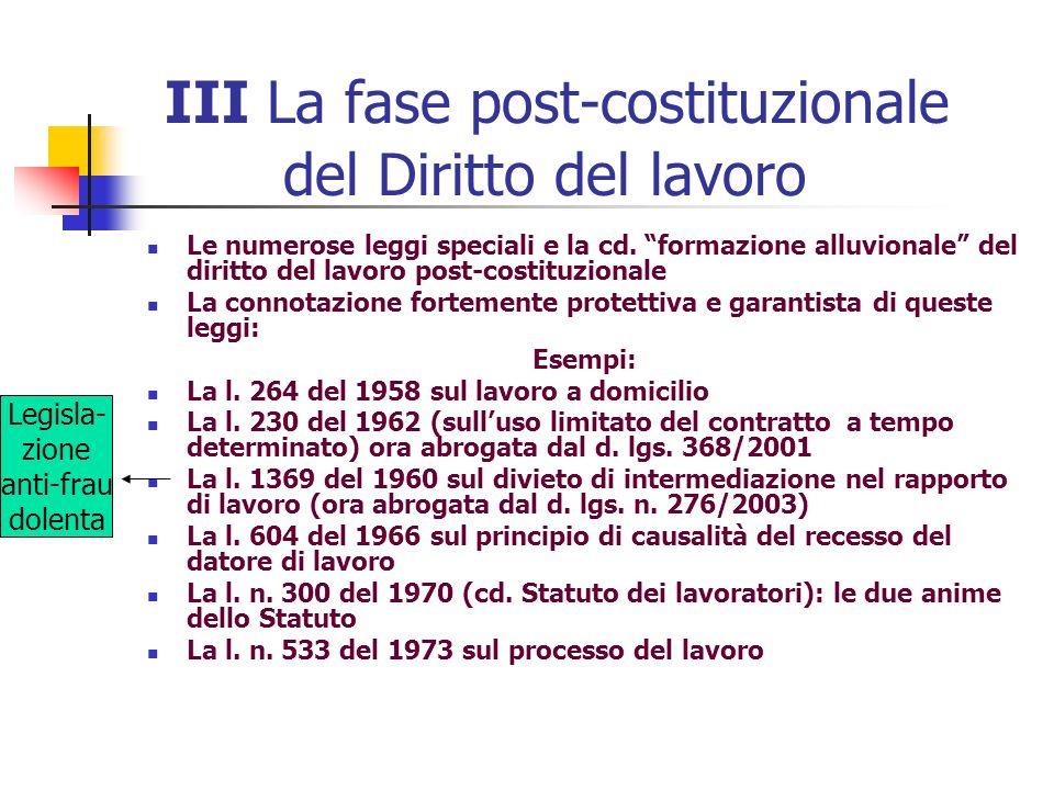 III La fase post-costituzionale del Diritto del lavoro Le numerose leggi speciali e la cd. formazione alluvionale del diritto del lavoro post-costituz