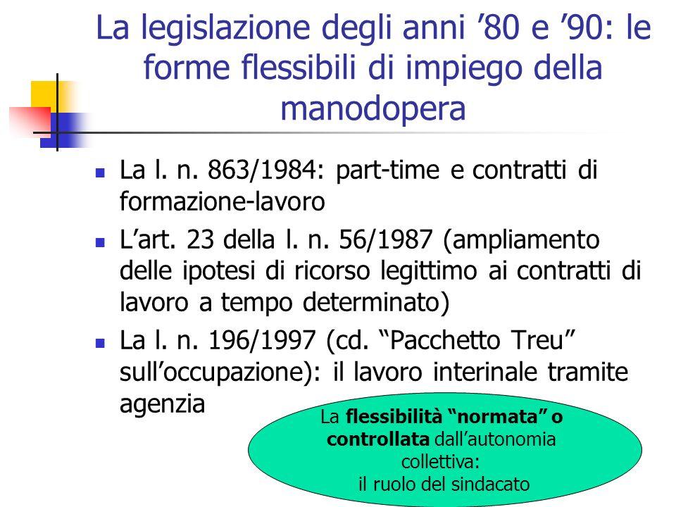 La legislazione degli anni 80 e 90: le forme flessibili di impiego della manodopera La l. n. 863/1984: part-time e contratti di formazione-lavoro Lart