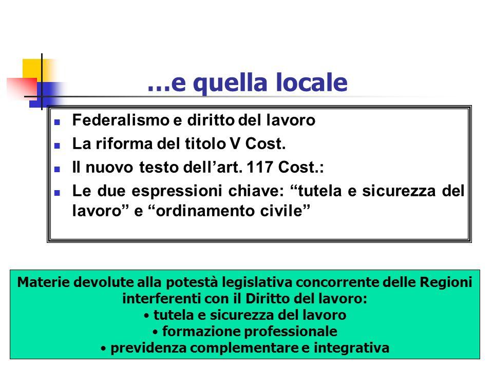 …e quella locale Federalismo e diritto del lavoro La riforma del titolo V Cost. Il nuovo testo dellart. 117 Cost.: Le due espressioni chiave: tutela e