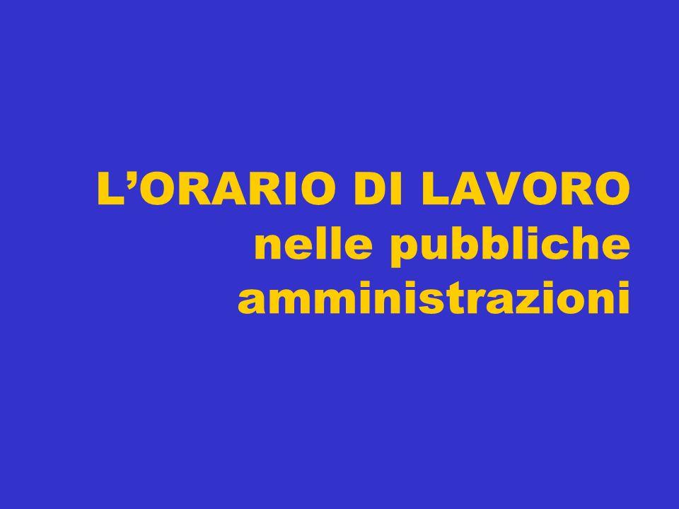 LORARIO DI LAVORO nelle pubbliche amministrazioni