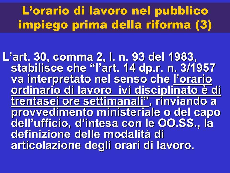 Lorario di lavoro nel pubblico impiego prima della riforma (3) Lart. 30, comma 2, l. n. 93 del 1983, stabilisce che lart. 14 dp.r. n. 3/1957 va interp