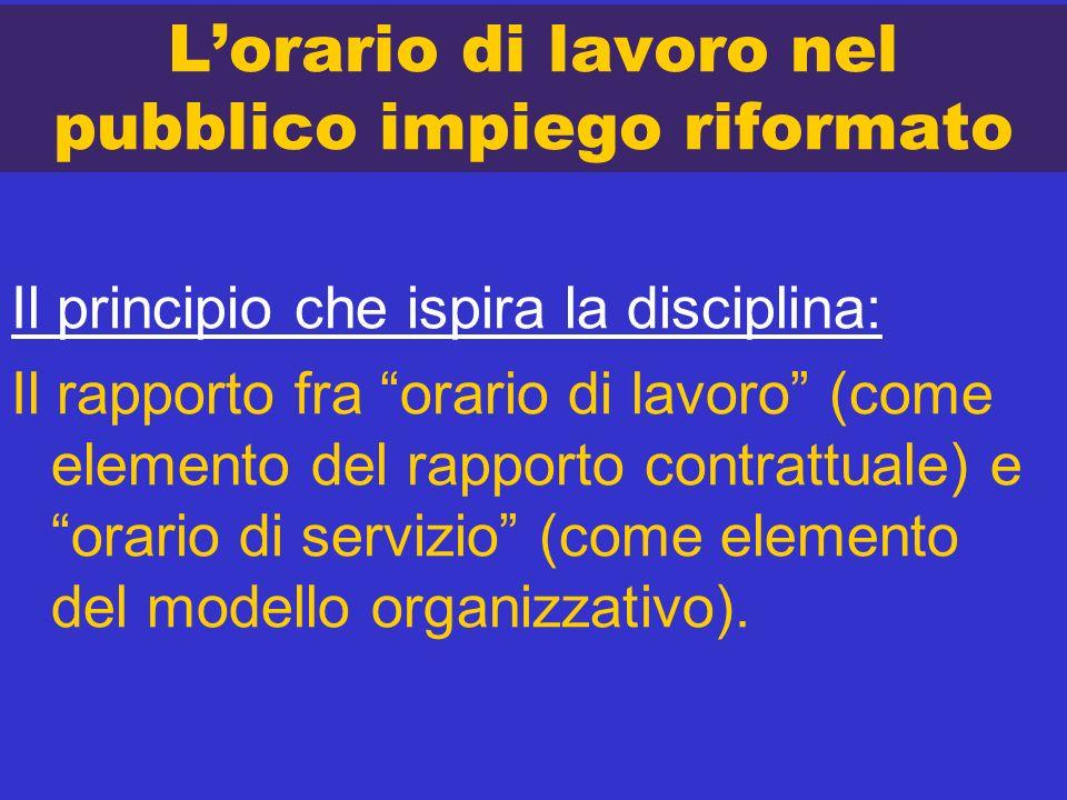 Lorario di lavoro nel pubblico impiego riformato Il principio che ispira la disciplina: Il rapporto fra orario di lavoro (come elemento del rapporto c