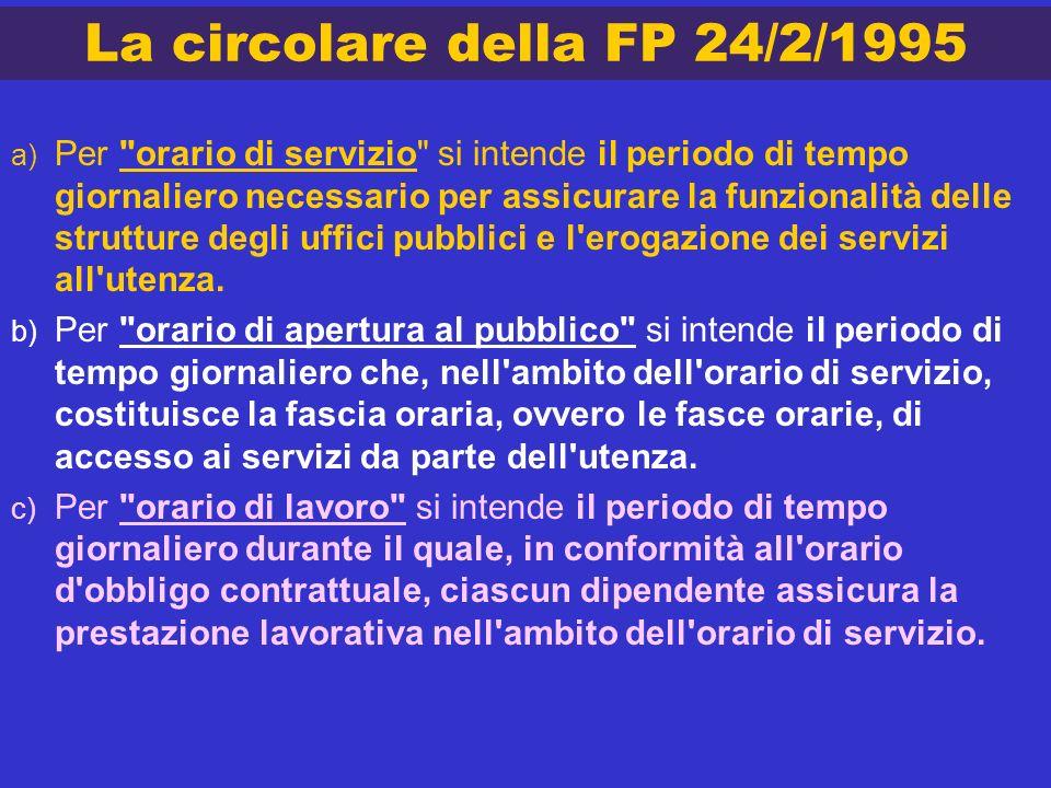 La circolare della FP 24/2/1995 a) Per