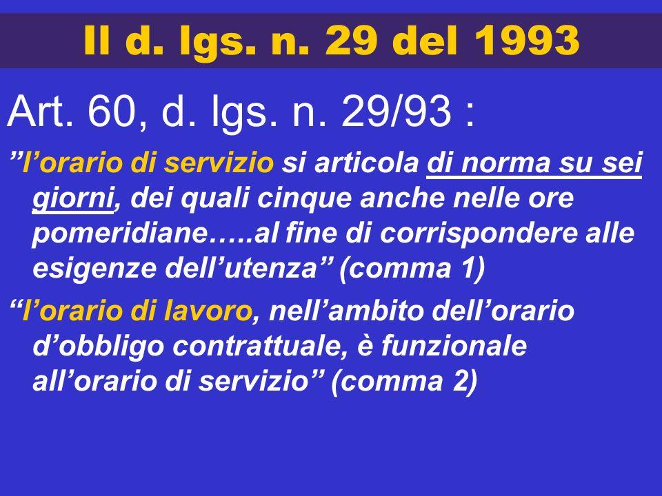 Il d. lgs. n. 29 del 1993 Art. 60, d. lgs. n. 29/93 : lorario di servizio si articola di norma su sei giorni, dei quali cinque anche nelle ore pomerid