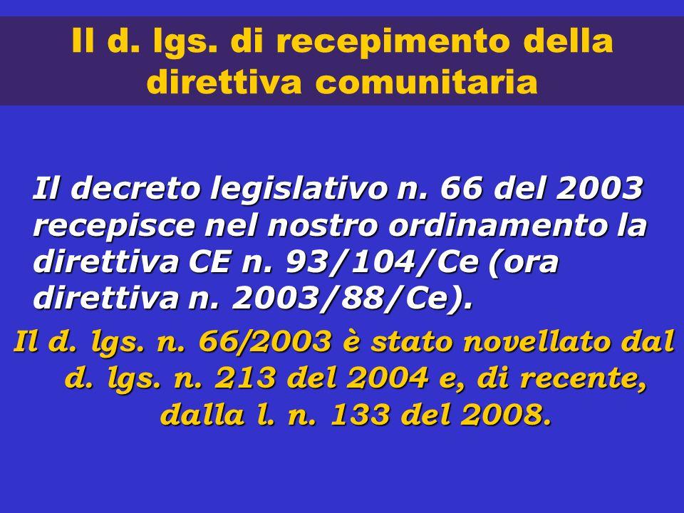 Il d. lgs. di recepimento della direttiva comunitaria Il decreto legislativo n. 66 del 2003 recepisce nel nostro ordinamento la direttiva CE n. 93/104