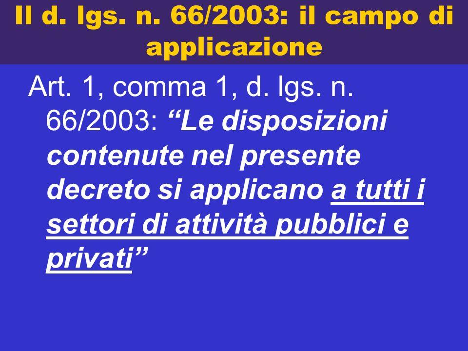 Il d. lgs. n. 66/2003: il campo di applicazione Art. 1, comma 1, d. lgs. n. 66/2003: Le disposizioni contenute nel presente decreto si applicano a tut