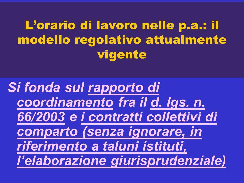 Lorario di lavoro nelle p.a.: il modello regolativo attualmente vigente Si fonda sul rapporto di coordinamento fra il d. lgs. n. 66/2003 e i contratti