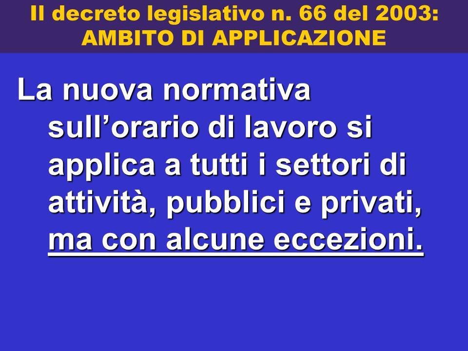 Il decreto legislativo n. 66 del 2003: AMBITO DI APPLICAZIONE La nuova normativa sullorario di lavoro si applica a tutti i settori di attività, pubbli