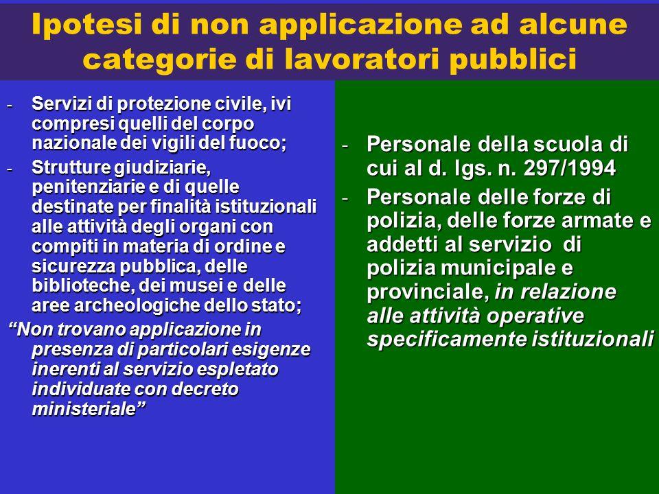 Ipotesi di non applicazione ad alcune categorie di lavoratori pubblici - Servizi di protezione civile, ivi compresi quelli del corpo nazionale dei vig