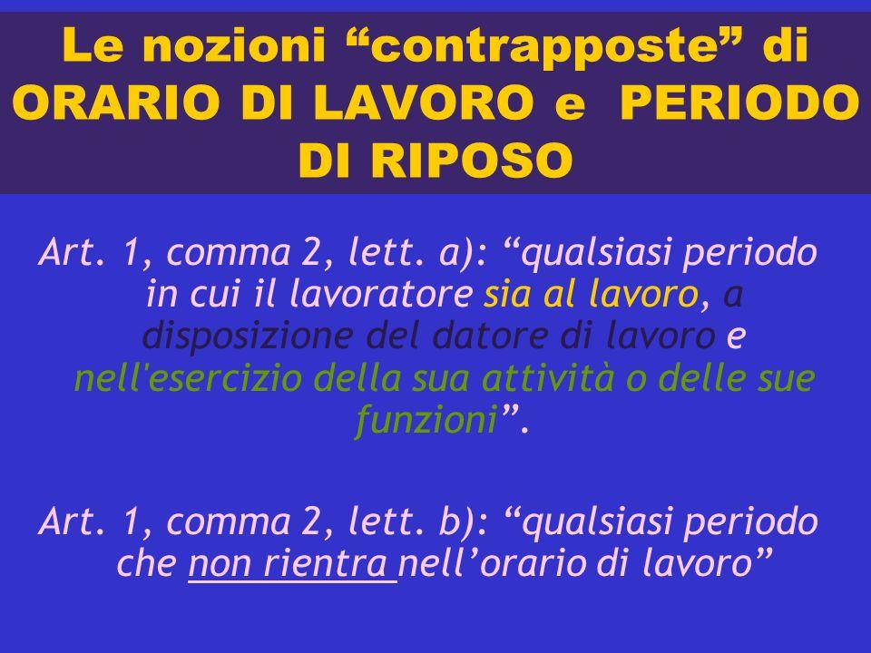 Le nozioni contrapposte di ORARIO DI LAVORO e PERIODO DI RIPOSO Art. 1, comma 2, lett. a): qualsiasi periodo in cui il lavoratore sia al lavoro, a dis