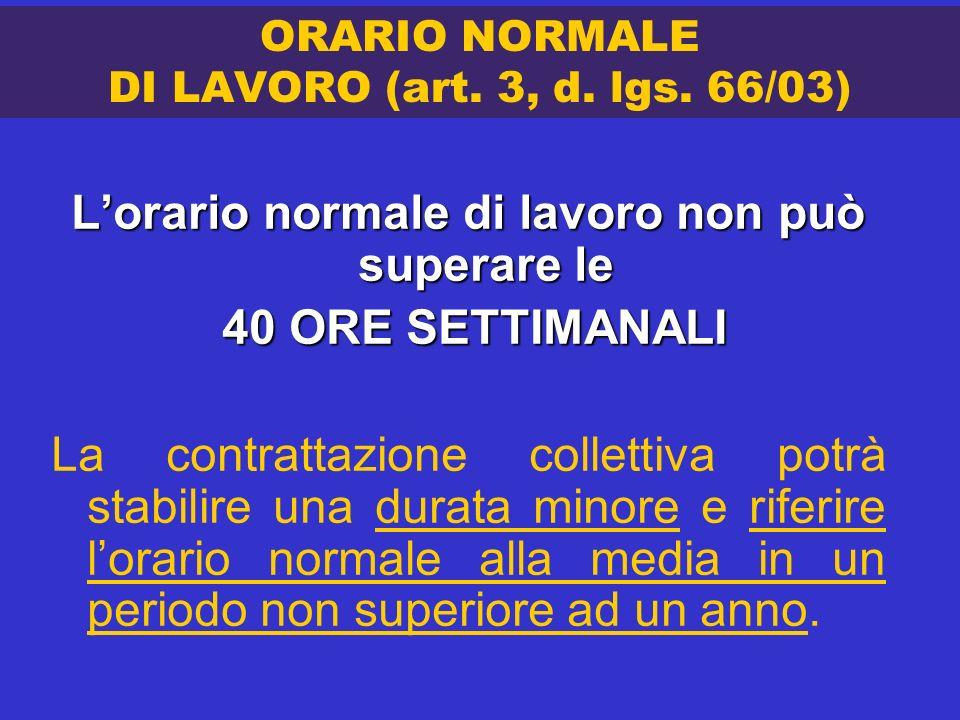 ORARIO NORMALE DI LAVORO (art. 3, d. lgs. 66/03) Lorario normale di lavoro non può superare le 40 ORE SETTIMANALI 40 ORE SETTIMANALI La contrattazione