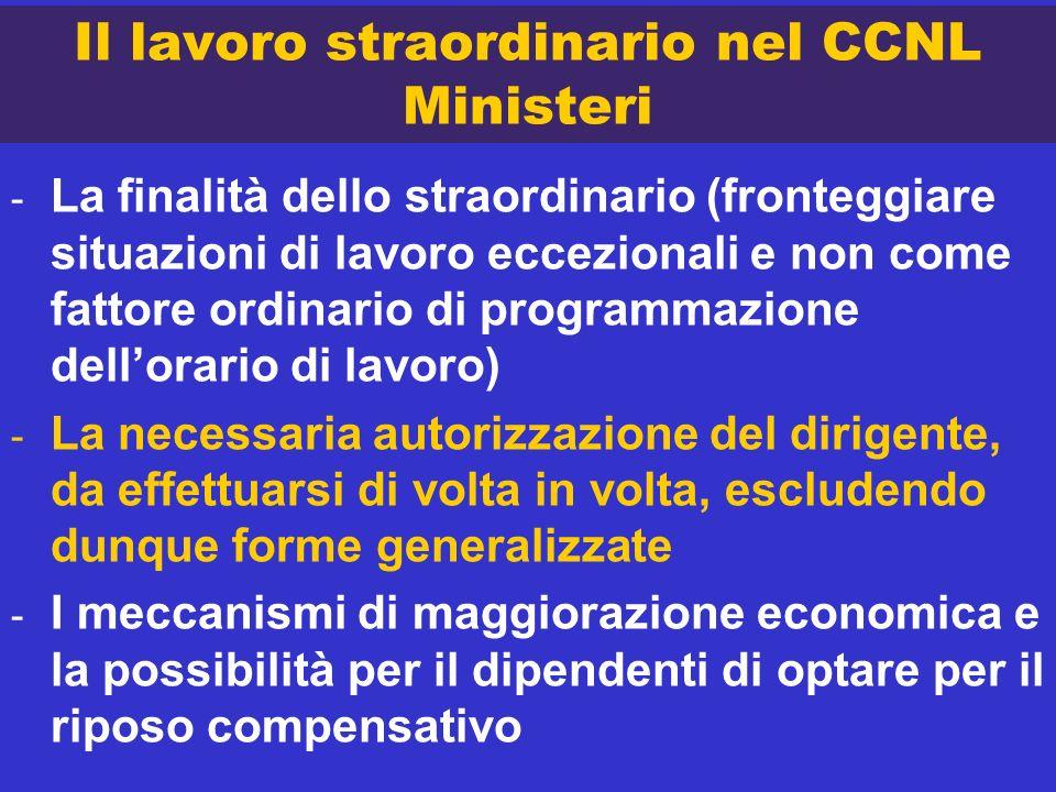 Il lavoro straordinario nel CCNL Ministeri - La finalità dello straordinario (fronteggiare situazioni di lavoro eccezionali e non come fattore ordinar