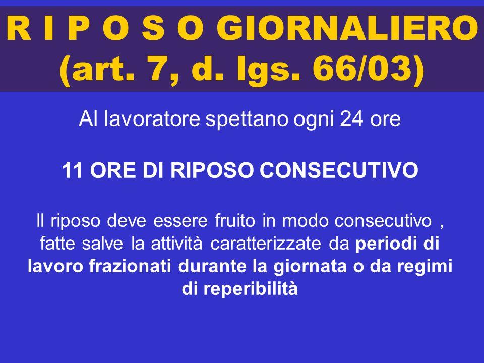 R I P O S O GIORNALIERO (art. 7, d. lgs. 66/03) Al lavoratore spettano ogni 24 ore 11 ORE DI RIPOSO CONSECUTIVO Il riposo deve essere fruito in modo c