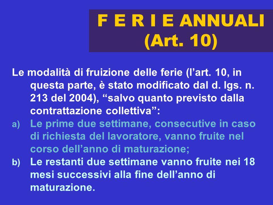 F E R I E ANNUALI (Art. 10) Le modalità di fruizione delle ferie (lart. 10, in questa parte, è stato modificato dal d. lgs. n. 213 del 2004), salvo qu