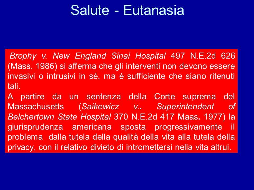 Eutanasia Suicidio assistito Donazione di organi Vendita di materiale genetico Diritto a disporre di sé Diritto alla salute diritto al consenso inform