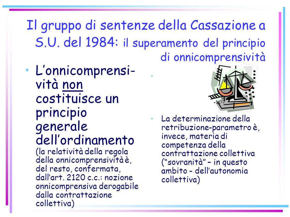 Il principio giurisprudenziale di omnicomprensività della retribuzione (anni 70 e 80) LINTERA RETRIBUZIONE FUNGE SEMPRE DA BASE DI CALCOLO PER TUTTE L