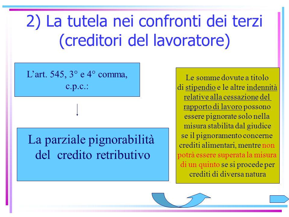 2) La tutela nei confronti dei terzi (creditori del lavoratore) Qual è la finalità di questa tutela? Impedire che i redditi di lavoro vengano aggredit