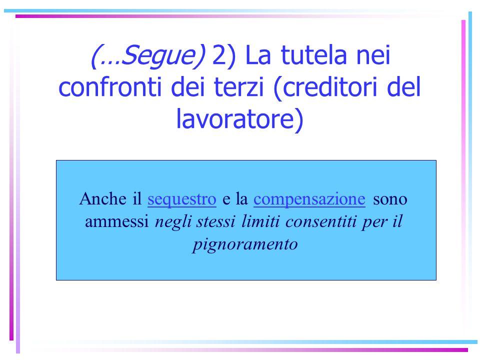 2) La tutela nei confronti dei terzi (creditori del lavoratore) Lart. 545, 3° e 4° comma, c.p.c.: La parziale pignorabilità del credito retributivo Le