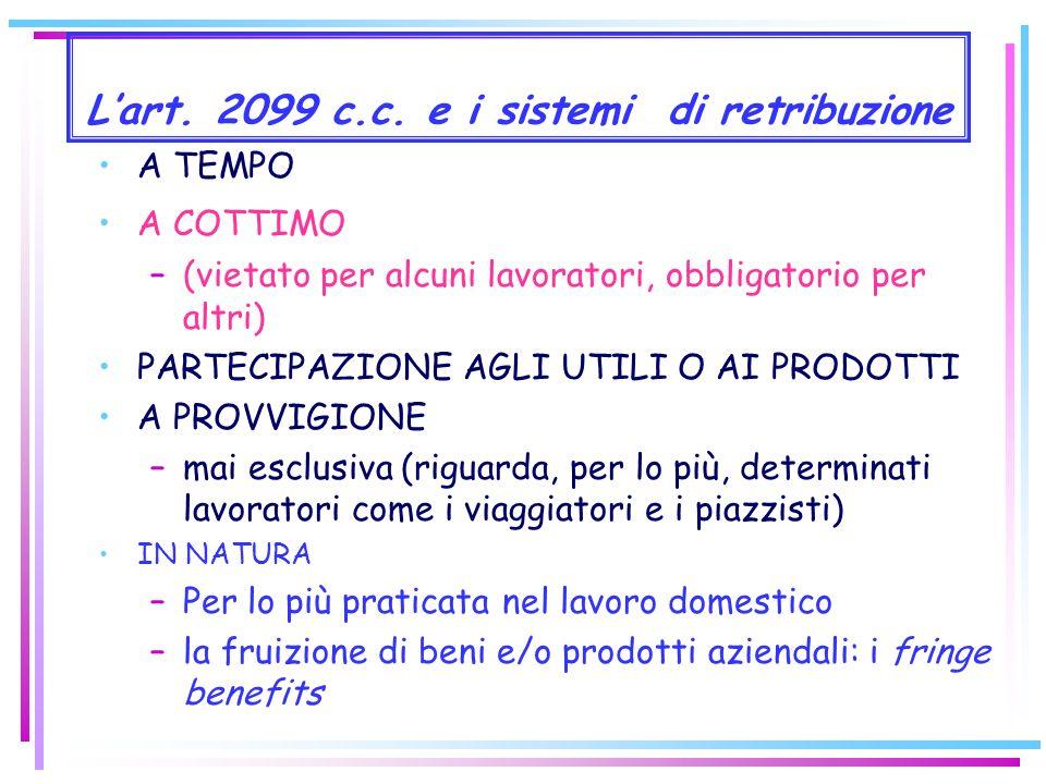 La struttura dellobbligazione retributiva I sistemi di retribuzione