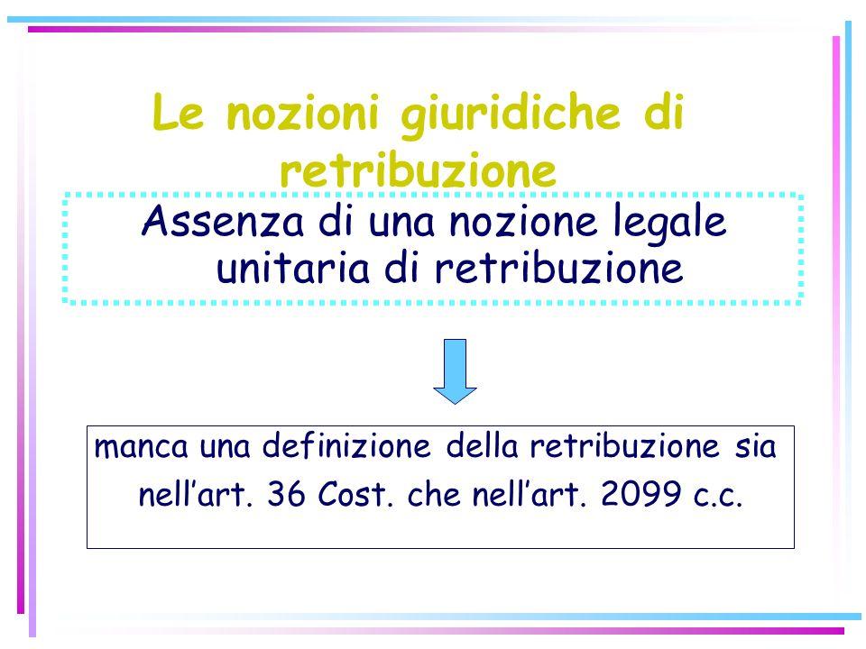 Le nozioni giuridiche di retribuzione Assenza di una nozione legale unitaria di retribuzione manca una definizione della retribuzione sia nellart.