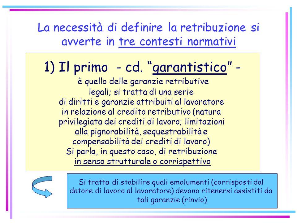 La necessità di definire la retribuzione si avverte in tre contesti normativi 1)Il primo - cd.