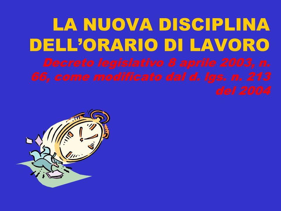 LA NUOVA DISCIPLINA DELLORARIO DI LAVORO Decreto legislativo 8 aprile 2003, n. 66, come modificato dal d. lgs. n. 213 del 2004