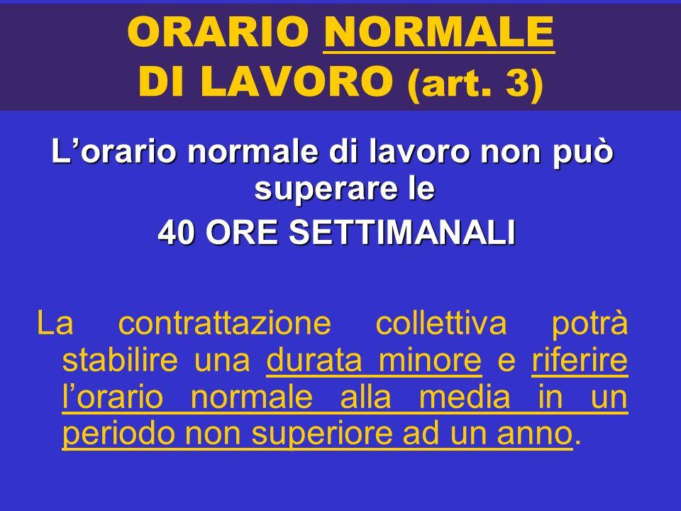 ORARIO NORMALE DI LAVORO (art. 3) Lorario normale di lavoro non può superare le 40 ORE SETTIMANALI 40 ORE SETTIMANALI La contrattazione collettiva pot